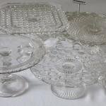 vintage glass cake stands